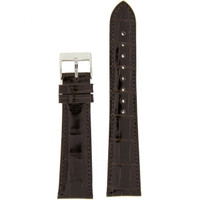 Watch Band Genuine Alligator Dark Brown Glossy  Matching Stitching