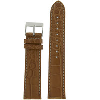 Watch Band Genuine Alligator Matte Light Brown White Stitching