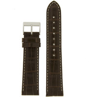 Watch Band Genuine Alligator Matte Dark Brown White Stitching
