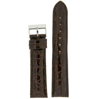 Watch Band Genuine Crocodile Brown Thick Padded Stitched