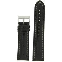 Watch Band Genuine Crocodile Black Padded White Stitched