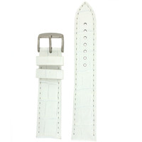 White Leather Crocodile Grain Watch Band | Traditional White Crocodile Grain Leather Watch Strap | TechSwiss LEA1820 | Main