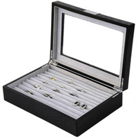 Black Wood Ring Box | Engravable Black Cufflink Case | Ring and Cufflink Storage Case | Ring and Cufflink Black Wood Box | TechSwiss | TSRB610ESSBK | Main