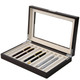 Brown Wood Fountain Pen Case | Mens Luxury Organizers | TechSwiss TSPEN400ESBRN | Open Side View