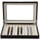 Brown Wood Fountain Pen Case | Mens Luxury Organizers | TechSwiss TSPEN400ESBRN | Open Front View