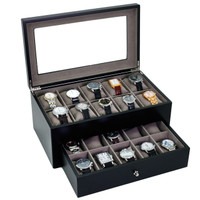 Black Wood Watch Box for 20 Watches| TechSwiss TSBXA20BK | Open