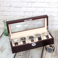 Contemporary Wood Watch Box | Compact Case TS6100BLKBRN | Main View