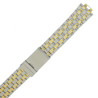 Metal Link Watch Band 2-Tone Stainless Steel w. Curved End
