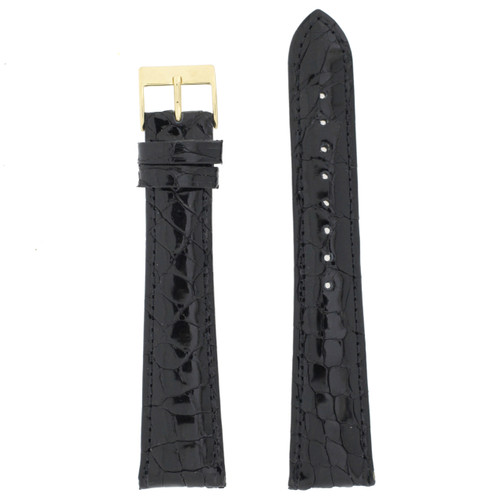 Extra Long Black Crocodile Watch Band | TechSwiss Long Patent Exotic Skin Watch Straps | TechSwiss LEA700L | Main