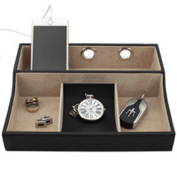 Leather Valet and Charging Station | Mens Leather Dresser Top Organizers | TechSwiss TSVL735BLK | Main