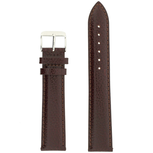 Long Dark Brown Leather Watch Band | Stainless Steel Buckle | Bourbon Brown Long Leather Watch Strap | TechSwiss LEA1690 | Main