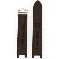 Dark Brown Leather Watch Band | Crocodile Grain Pasha Replacement Straps | Tech Swiss LEAPABRN | Main