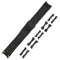 Black Metal Watch Band  | TechSwiss MET430 | Front