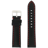 Panerai Style Watch Band Leather Black Red Stitching