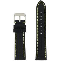 Black Padded Watch Strap   Tech Swiss LEA582   Front