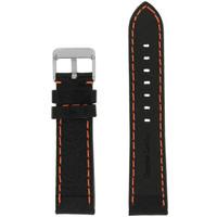 Orange Stitching Black Padded Watch Strap   Tech Swiss LEA583   Front