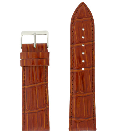 Light Brown Leather Watch Band | Crocodile Grain Leather Watch Strap | TechSwiss