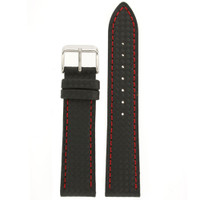 Watch Band Carbon Fiber Black Red Stitching Padded