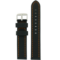 Watch Band Carbon Fiber Black Orange Stitching Padded