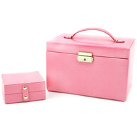 Pink Leather Jewelry Box | TechSwiss Ladies Jewelry Case TS382PINK | Main