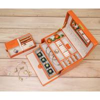 Orange Leather Jewelry Box | TechSwiss Ladies Jewelry Case TS382OGE | Main