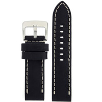 Leather Black Watch Band Extra Thick Straight Cut Heavy Buckle LEA1550