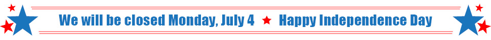 We will be closed Monday, July 4 for Independence Day