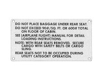 108-8742001-24   STINSON BAGGAGE PLACARD