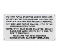 108-8742001-26   STINSON BAGGAGE PLACARD