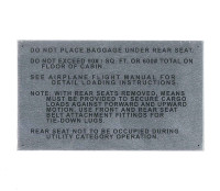 108-8742001-30   STINSON BAGGAGE PLACARD