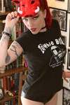 Diana Graves cozy in her Zombie Bar shirt