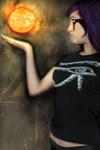 Natalie Addams wears the Eye of Horus