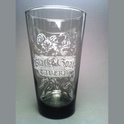 A etched smoked glass from the most blasphemous bar in Dunwich, The Black Goat of the Woods Tavern