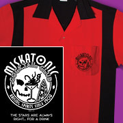 Miskatonic Cocktail Club on stylish red and black retro bowling shirt