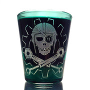 Steamy Roger shot glass (green)