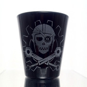 Steamy Roger shot glass (black)