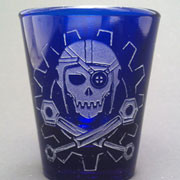 Steamy Roger shot glass (blue)