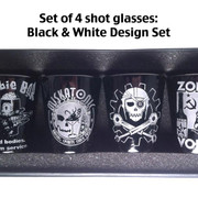 Shot Glass set of 4: Black and White design set