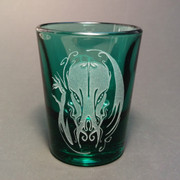 Hellfire Cthulhu shot glass (green)