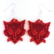 "I ""Cat"" Ulthar red mirrored acrylic earrings"
