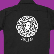 Lovecraft-inspired work shirt with celtic Cthulhu design.