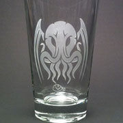 Tribal Cthulhu etched beer glass