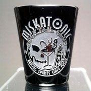 Beautiful etched black shot glass for this very exclusive club