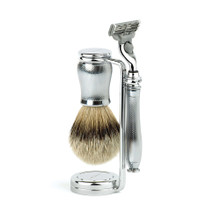 """Edwin Jagger """"The Chatsworth Metal Collection"""", 3pc set, Barley, Mach 3 razor, shaving brush (silver tip badger) and stand."""