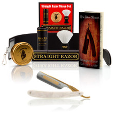 "Dovo Faux Pearl ""Bismarck"", 6/8"" Carbon Steel Straight Razor wtih Luxury Set - Professionally Honed"