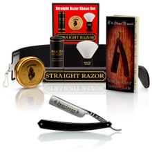 """Thiers-Issard """"Spartacus"""", 5/8"""" Carbon Steel Straight Razor - Black - with Luxury Shave Set - Professionally Honed"""