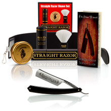 """Thiers-Issard """"Spartacus"""", 6/8"""" Carbon Steel Straight Razor - Black with Luxury Shave Set - Professionally Honed"""