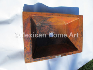 Copper Vanity Vessel Sink Rectangular Apron 20x13x4