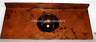 Natural Patina Copper Counter Top with Integrated Back Splash and Somber Vessel Sink