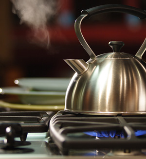 Steaming Tea Kettle on Stove